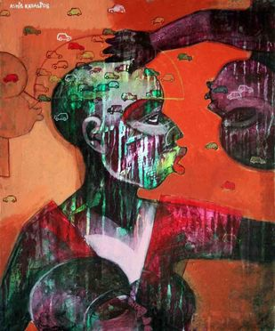Imagination 2 by Ashis Kabasi, Conceptual Painting, Acrylic on Canvas, Brown color