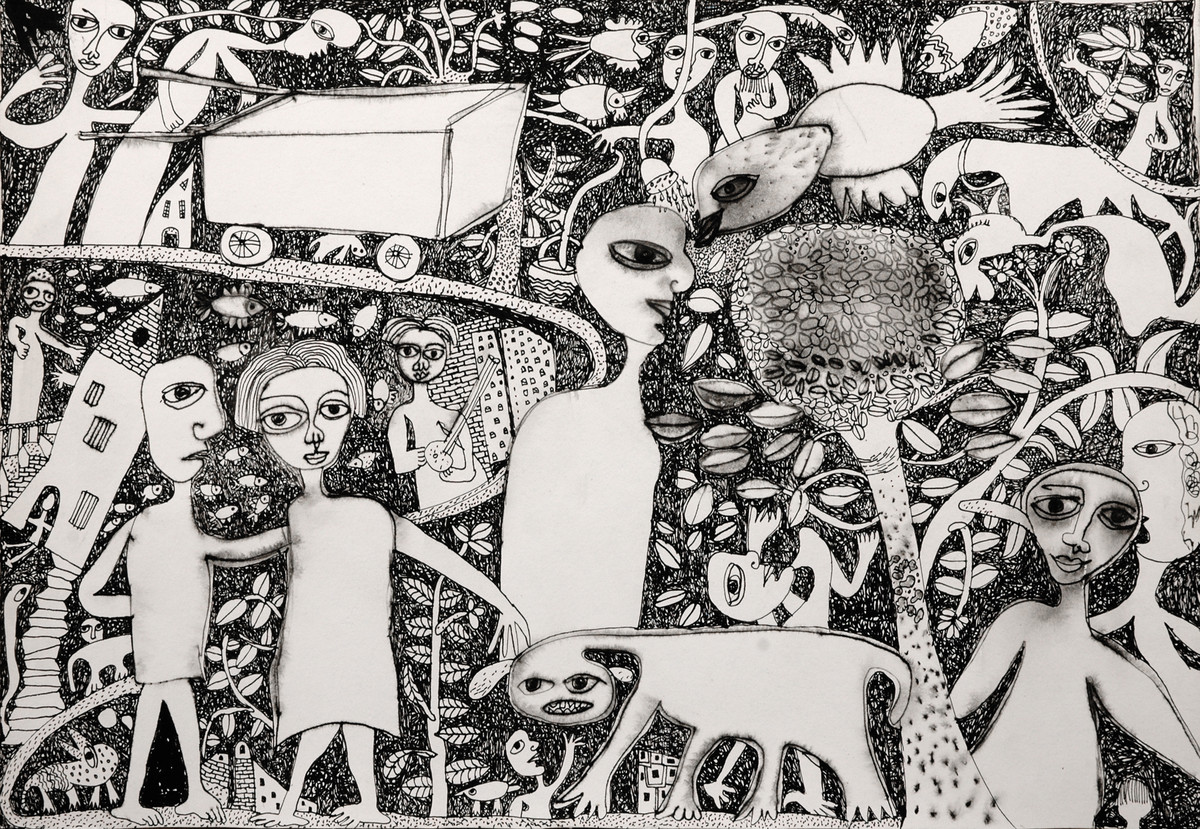 Untitled II by Indranath Majumdar, Conceptual Drawing, Pen & Ink on Paper, Gray color