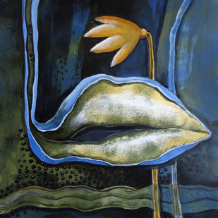 Motherhood 16 by Dipankar Pal, Conceptual Painting, Acrylic on Board, Blue color