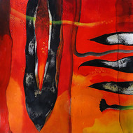 Motherhood in Disequilibrium by Dipankar Pal, Abstract, Conceptual Painting, Acrylic on Board, Red color