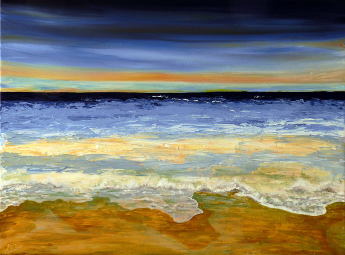 Horizon by Lakshmi Prakash, Impressionism Painting, Acrylic on Canvas, Beige color