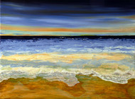 Horizon by Lakshmi Prakash, Impressionism Painting, Acrylic on Canvas, Beige color