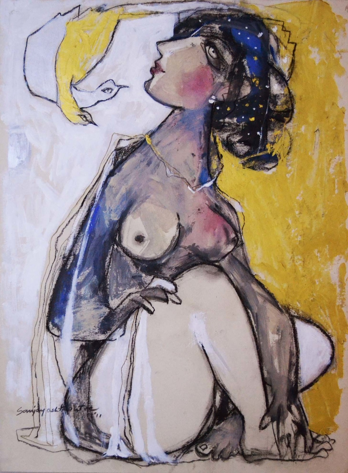 Lady I by Sanjay Ashtaputre, Decorative Painting, Acrylic on Paper, Brown color
