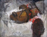 Chappal in Riots by Sanjay Ashtaputre, Impressionism Painting, Acrylic on Canvas, Gray color