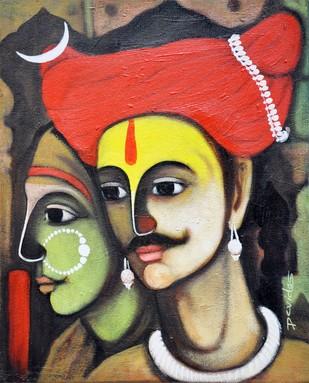 Jai Malhar and Banu - Painting by Devidas Yewate
