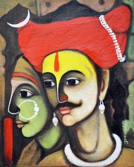Jai Malhar and Banu - Painting by Devidas Yewate
