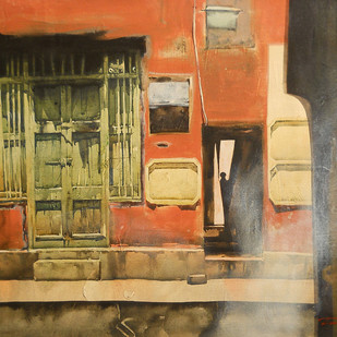 Untitled by Tanoy Choudhury, Impressionism Painting, Acrylic on Canvas, Brown color
