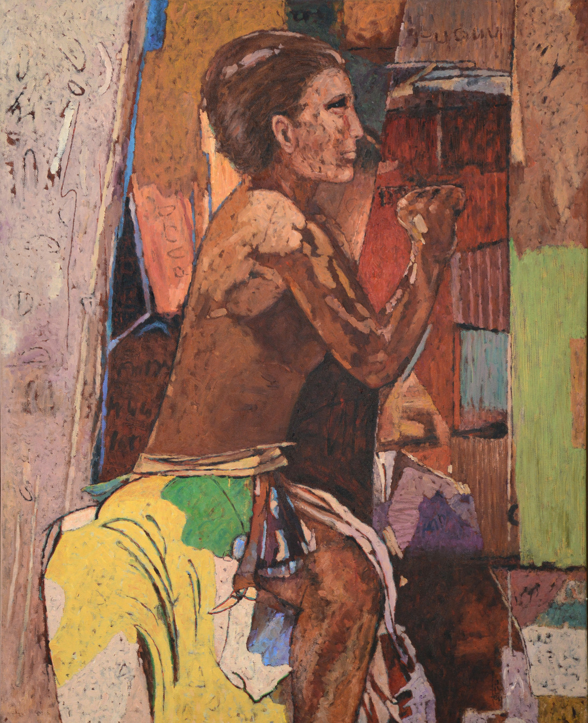 The Scribe by Jiten Hazarika, Expressionism Painting, Acrylic on Canvas, Brown color
