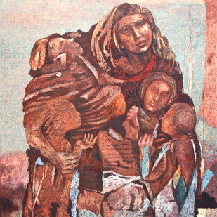 Staying Together by Jiten Hazarika, Expressionism Painting, Oil on Canvas, Brown color