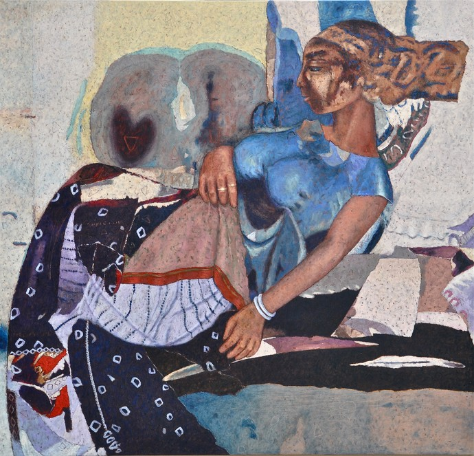 Expecting by Jiten Hazarika, Expressionism Painting, Oil on Canvas, Brown color