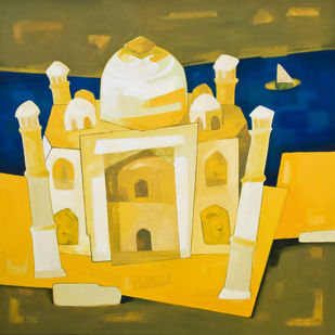 Part of Incredible by Dipak Asole, Decorative Painting, Oil on Canvas, Beige color