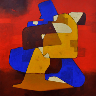 Couple in Love Mood 01 by Dipak Asole, Decorative Painting, Acrylic on Canvas, Brown color