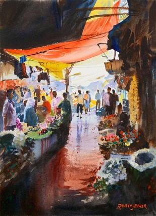 Flower Market II by Ramesh Jhawar, , , Brown color