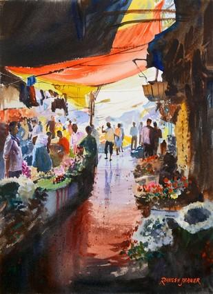 Flower Market II by Ramesh Jhawar, , , Brown color