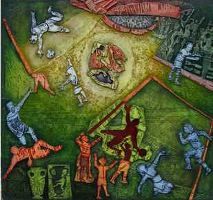 Goal by Mithun Dasgupta, Conceptual Painting, Mixed Media on Board, Green color