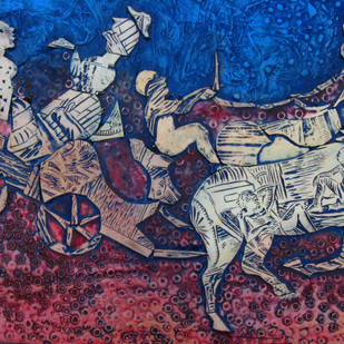 An Evening by Mithun Dasgupta, Conceptual Painting, Mixed Media on Board, Blue color