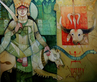 Durga by Arun Kumar Samadder, Traditional Painting, Oil on Canvas, Green color