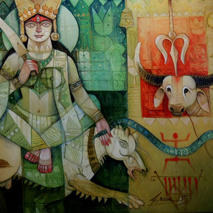 E 2 durga oil on canvas  52x44 inch rs 1 400 000