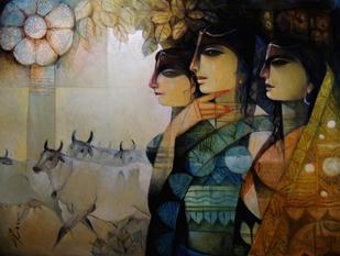 Melody of Jamuna 1 - Painting by Arun Kumar Samadder