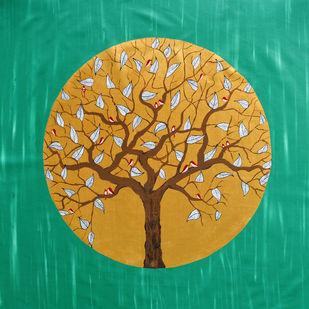 In the Emerald Forest by Sumit Mehndiratta, Decorative Painting, Acrylic on Canvas, Green color
