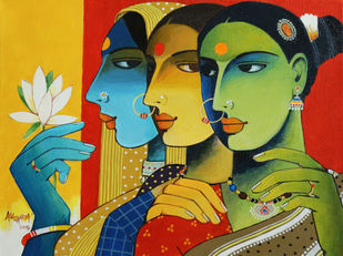 Gossip by Agacharya, Traditional Painting, Acrylic on Canvas, Green color