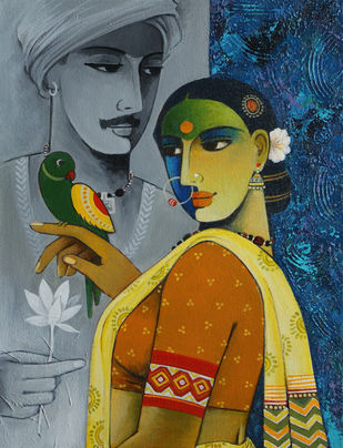 Romance by Agacharya, Traditional Painting, Acrylic & Ink on Canvas, Green color