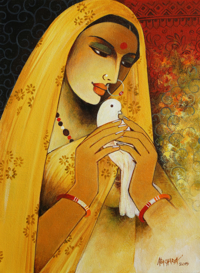 Messenger by Agacharya, Realism Painting, Acrylic on Canvas, Brown color