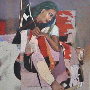 Best Friend by Jiten Hazarika, Expressionism Painting, Oil on Canvas, Brown color