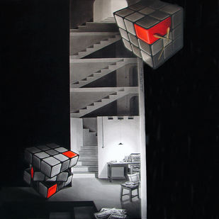 Life Corner 17 by Shrikant Kolhe, Realism Painting, Acrylic on Canvas, Black color