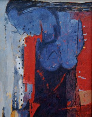 Feeling Blue by Jiten Hazarika, Expressionism Painting, Oil on Canvas, Blue color
