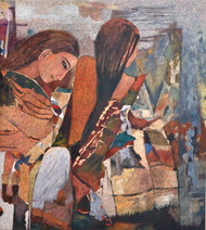 Repose by Jiten Hazarika, Expressionism Painting, Oil on Canvas, Brown color