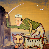 The Hunter by Chinmoy Pandit, Fantasy Painting, Acrylic on Canvas, Brown color
