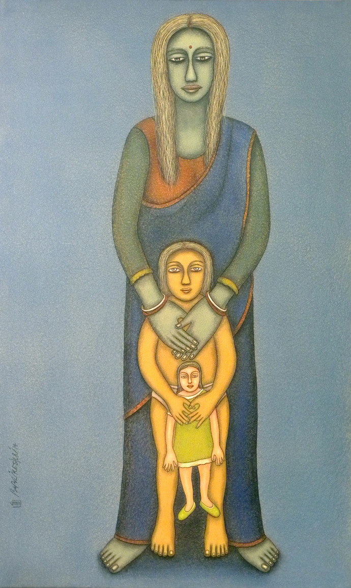 Mother & Child by Babli Keshri, Decorative Painting, Acrylic on Canvas, Green color