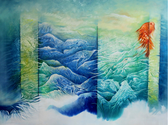 Untitled 1 by Baldev Gambhir, Decorative Painting, Oil on Canvas, Cyan color