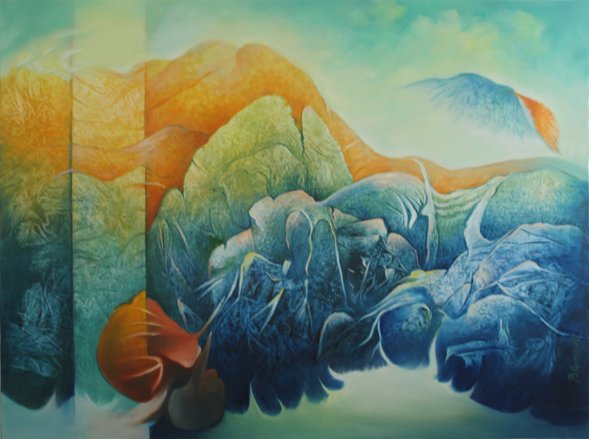 Untitled 3 by Baldev Gambhir, Decorative Painting, Oil on Canvas, Green color