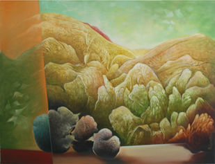 Untitled 5 by Baldev Gambhir, Decorative Painting, Oil on Canvas, Green color