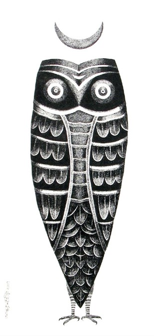 The Owl Digital Print by Bhaskar Lahiri,Folk