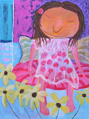 Pink Bliss by Shefali Nayan, Naive Painting, Acrylic on Canvas, Purple color