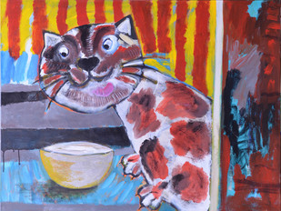 Favourite meal by Shefali Nayan, Naive Painting, Acrylic on Canvas, Brown color