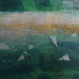Element 09 by Vedanti S Kolhe, Abstract Painting, Acrylic on Canvas, Green color