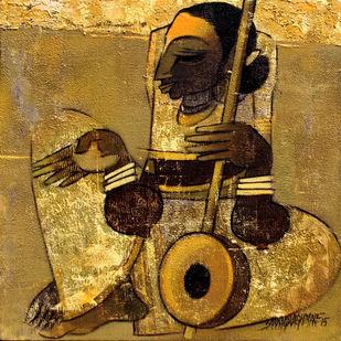 Faith 5 by Sarang Waghmare, Decorative Painting, Acrylic on Canvas, Brown color