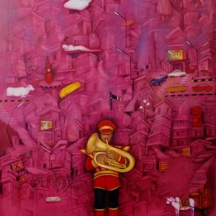 Fantasy by Ram Partap Verma, Fantasy , Oil on Canvas, Purple color
