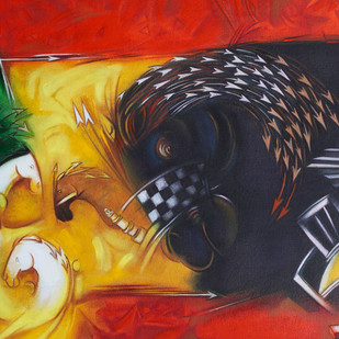 Horse Power by Ram Partap Verma, Conceptual , Oil on Canvas, Brown color