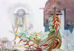 My Dream Garden 17 by Vijay Kiyawat, Fantasy Painting, Watercolor on Paper, Gray color