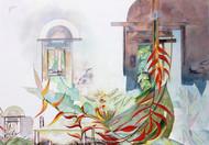 My Dream Garden 17 by Vijay Kiyawat, Fantasy Painting, Watercolor on Paper, Gray color