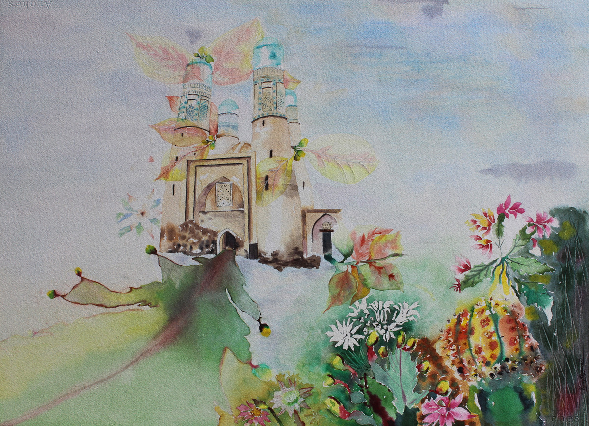 My Dream Garden-15 by Vijay Kiyawat, Fantasy Painting, Watercolor on Paper, Gray color