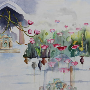 My Dream Garden-28 by Vijay Kiyawat, Fantasy Painting, Watercolor on Paper, Gray color