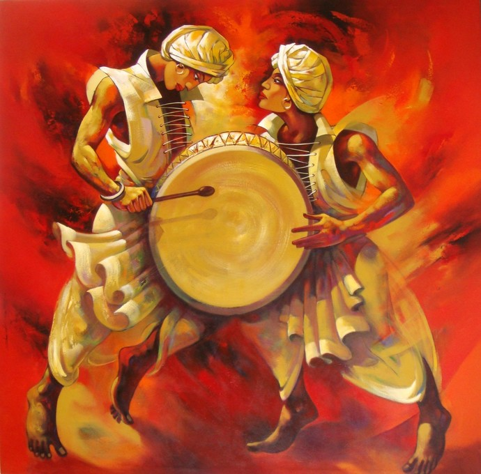 Musician By Artist Shankar Gojare Decorative Painting