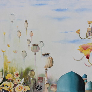 My Dream Garden 28 by Vijay Kiyawat, Fantasy Painting, Watercolor on Paper, Gray color