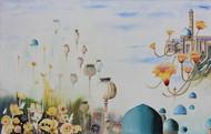 My Dream Garden 28 by Vijay Kiyawat, Fantasy Painting, Watercolor on Paper, Gray color
